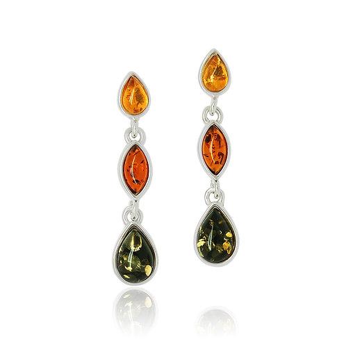 Sterling Silver Multicolour Amber Drop Earrings