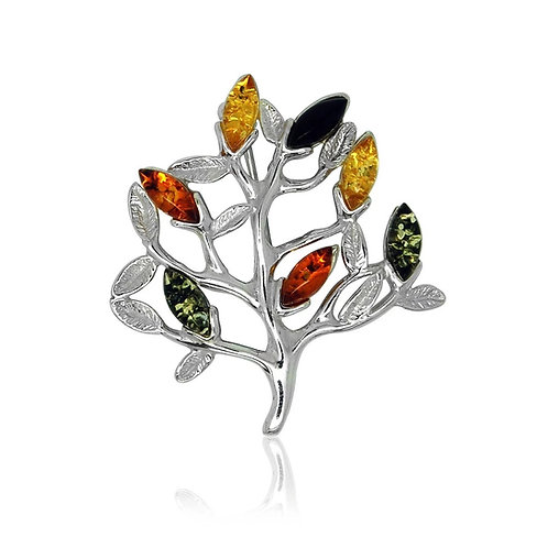 Silver Amber Multicolour Tree Brooch