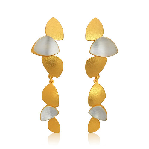 Handmade Designer Brushed Goldplated Sterling Silver Drop Earrings