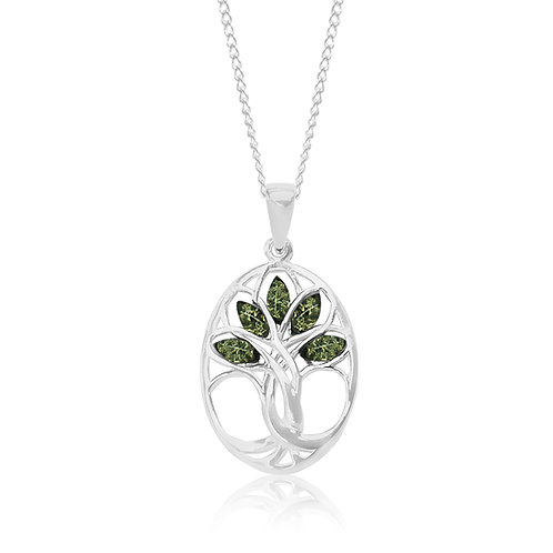 Sterling Silver Green Amber Tree of Life Pendant