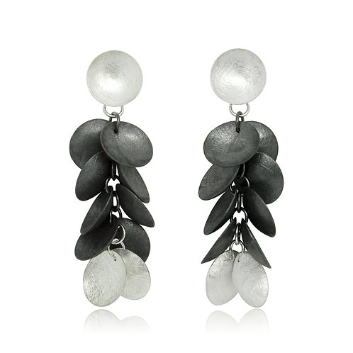Handmade Designer Oxidised Silver Discs Earrings