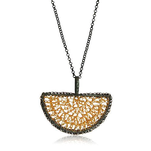 Handmade Designer Oxidised & Gold Plated Silver Pendant