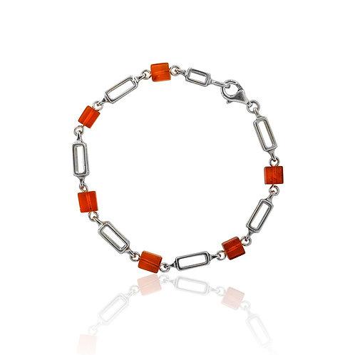Silver Amber Rectangular Link Bracelet