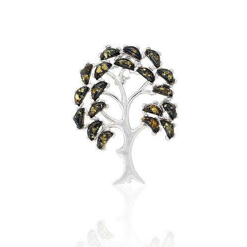 Sterling Silver Green Amber Tree Brooch