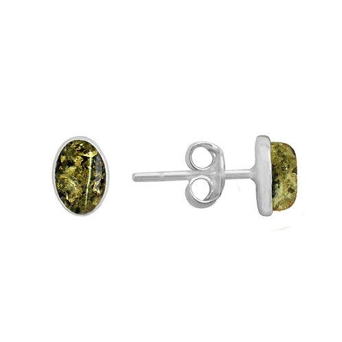 Sterling Silver Oval Green Amber Earrings