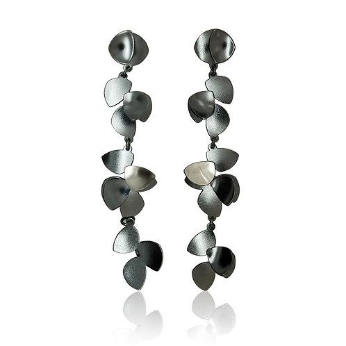 Designer Sterling Silver Cluster Petal  Drop Earrings