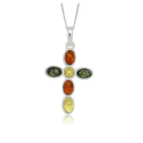 Sterling Silver Multicoloured Amber Cross Pendant