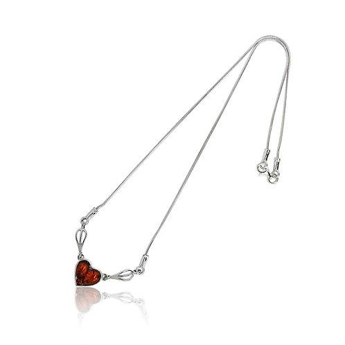 Silver Amber Heart Collar
