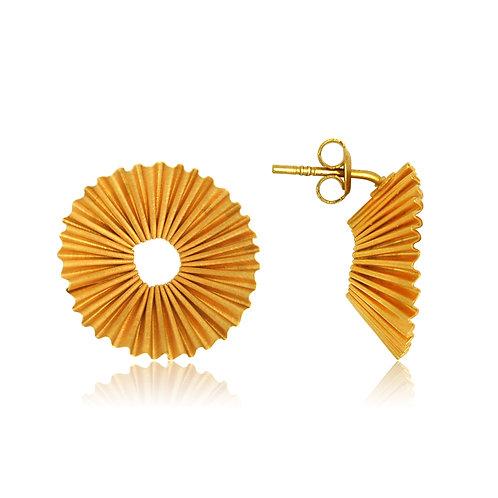 Handmade Designer Gold Plated Silver Ridged Earrings