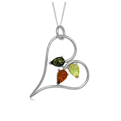 Sterling Silver Multicoloured Amber in a Heart Pendant