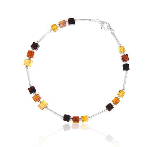 Silver Amber Cube Bracelet