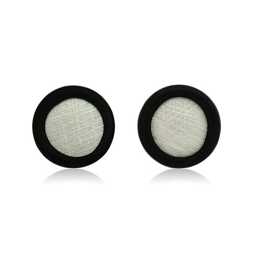 Handmade Designer Silver & Rubber Disc Earrings