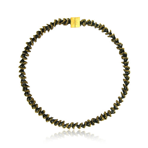 Handmade Designer Oxidised & Gold Plated Silver Necklace