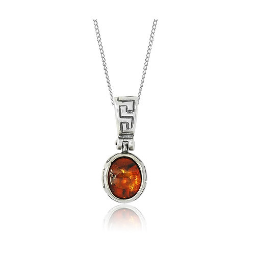 Sterling Silver Greek Style with Oval Amber Stone Pendant