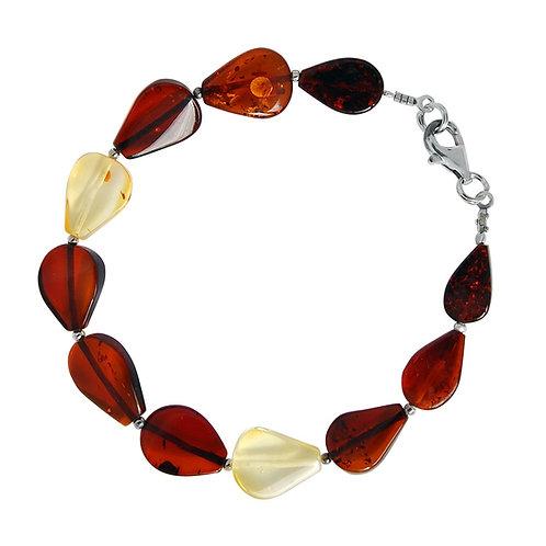 Silver Multi shade Amber Bracelet