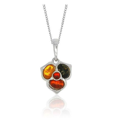 Sterling Silver 4 Multicoloured Amber Stone Flower Pendant