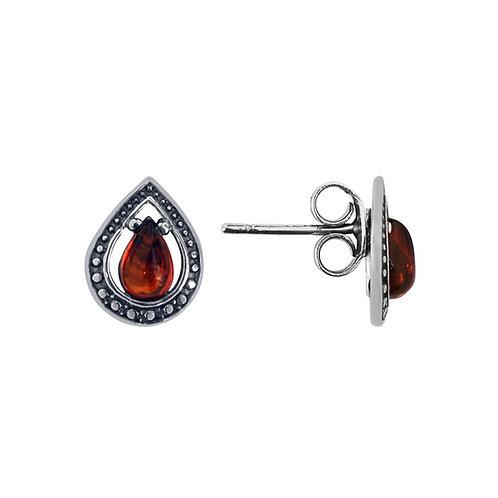 Sterling Silver Amber Stud Earrings