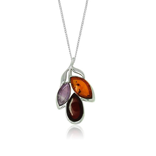 Sterling Silver Amber and Amethyst Pendant