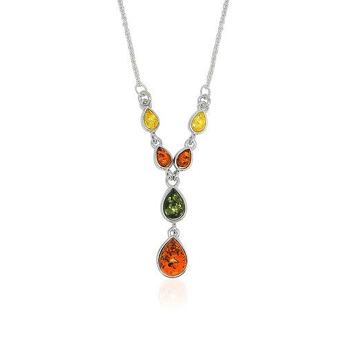 Silver Multi-coloured Amber Collar