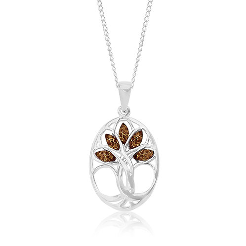 Sterling Silver Cognac Amber Tree of Life Pendant