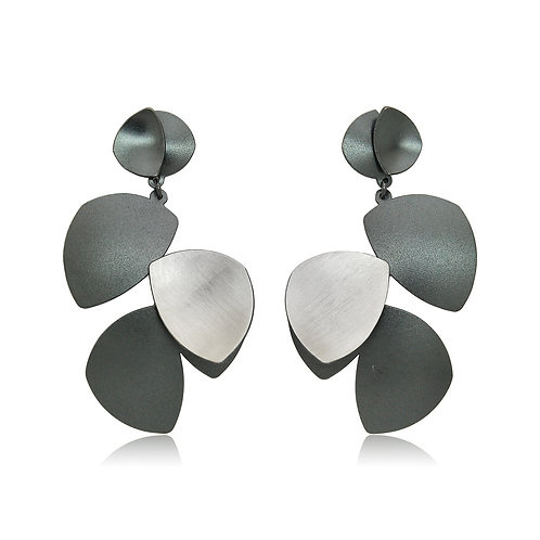 Handmade Designer Brushed Sterling Silver Oxidised Earrings