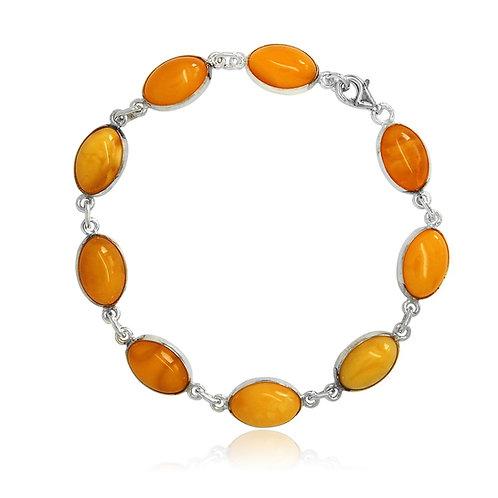Silver Amber Oval Link Bracelet