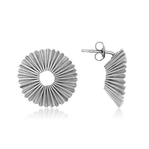 Handmade Designer Silver Ridged Earrings