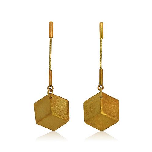 Handmade Designer Gold Plated Silver 3D Cube Earrings