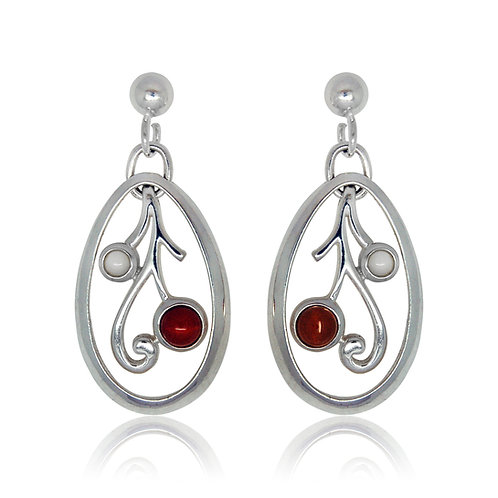 Sterling Silver Oval Moonstone and Amber Earrings