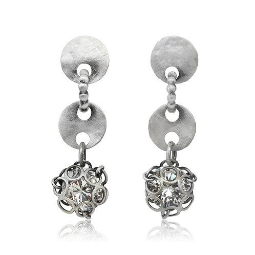 Handmade Designer Silver & Crystal Earrings