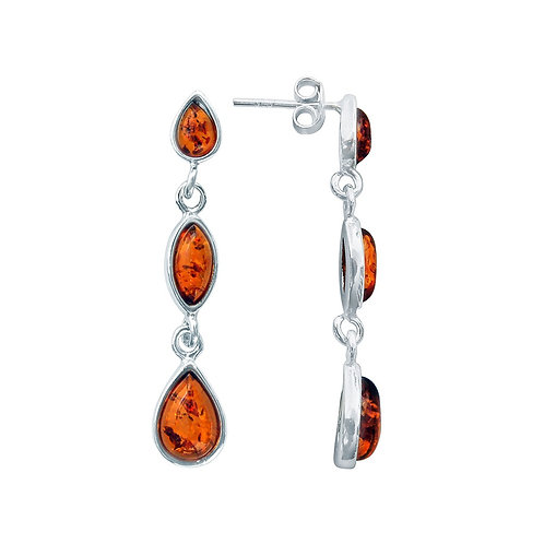 Silver Amber 3 Stone Earrings
