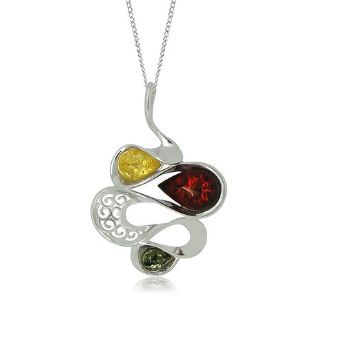 Sterling Silver Multicoloured Amber Pendant