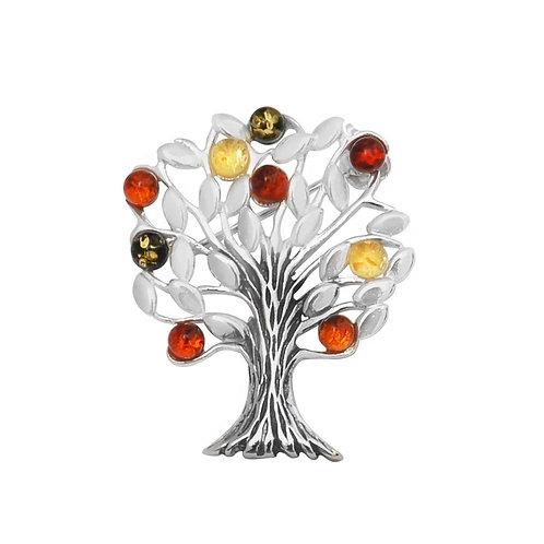 Silver Amber Multicolour Tree Brooch