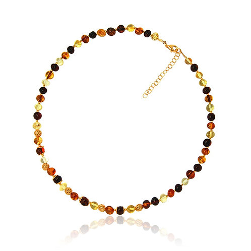 Silver Amber and Goldplated Collar