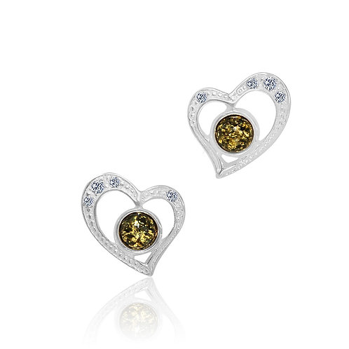 Silver Green Amber and Cz Stud Earrings