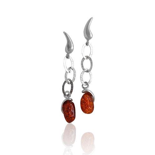 Sterling Silver Offshape Amber drop Earrings
