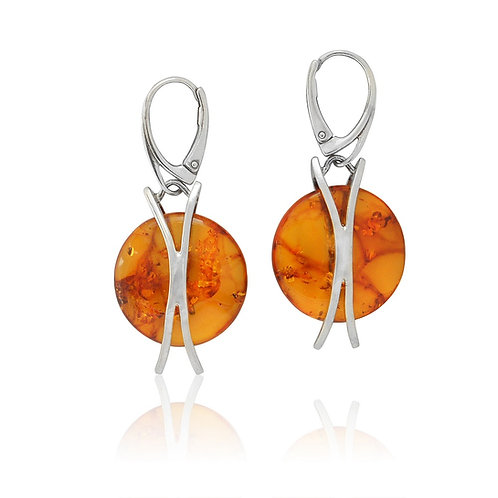 Silver Amber Disc Earrings