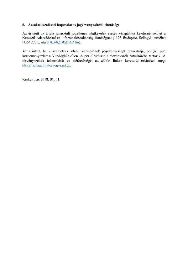 Vendégház adatkezelési tájékoztatója-vég