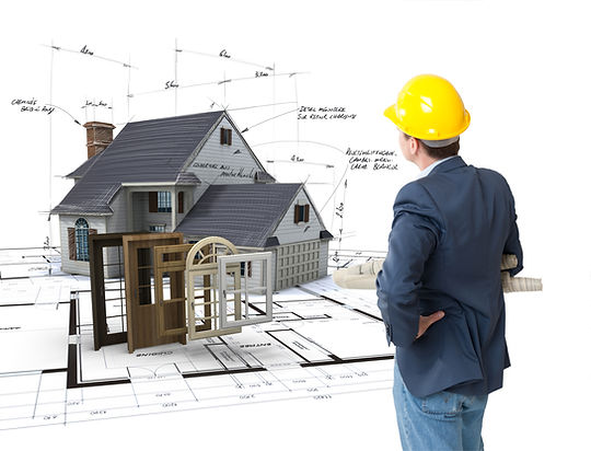 Architect looking at a House on blueprin