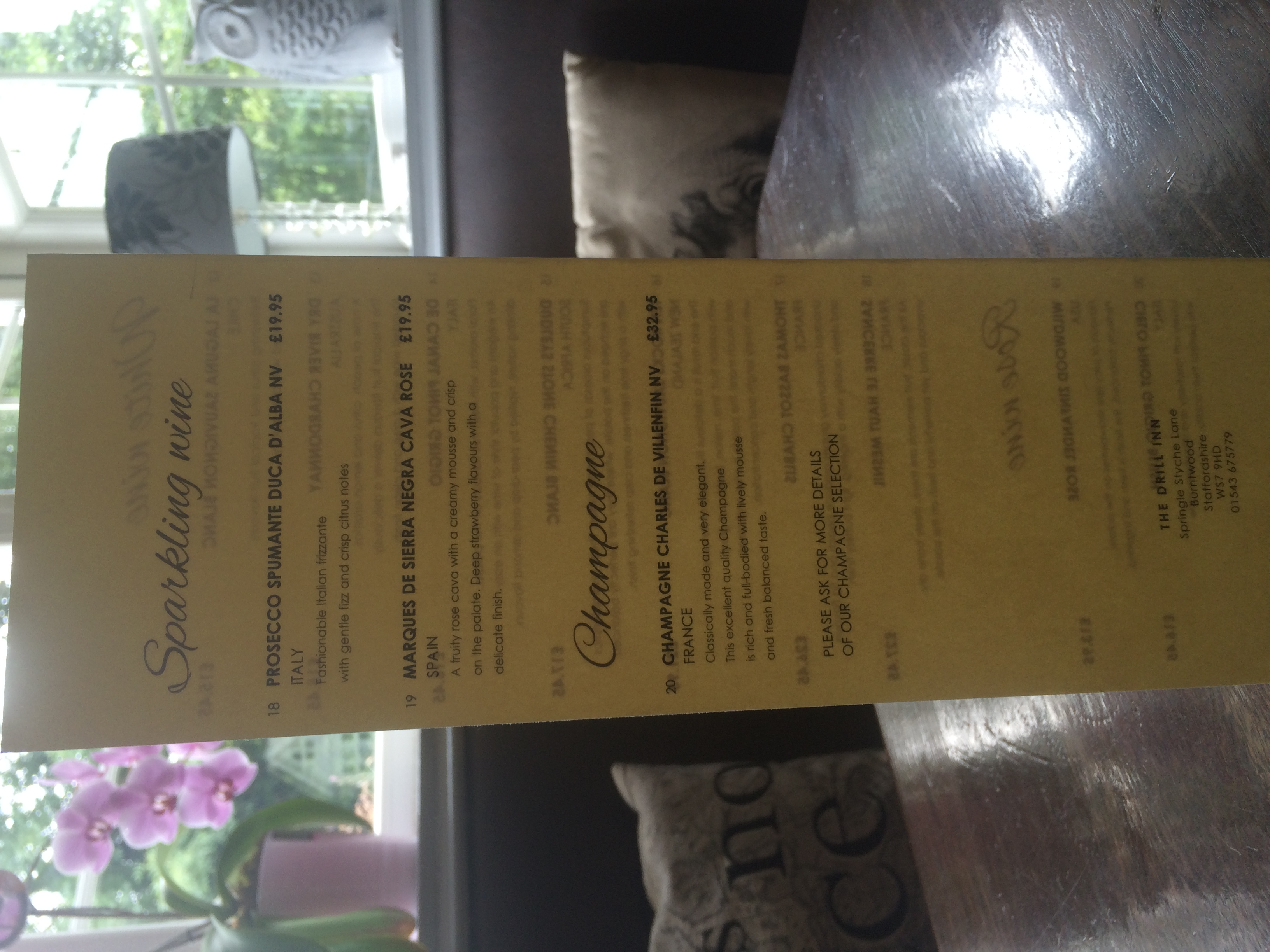 wine menu rear