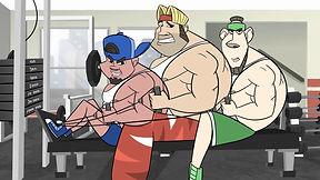 Three bodybuilders sing about a revolutionary new workout regimen.