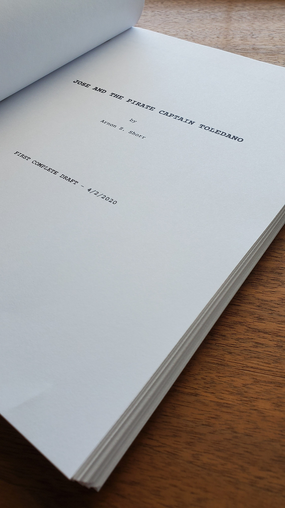 printed script of a graphic novel