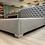 Thumbnail: Polsterbett grau Webstoff mit Chrome Füßen