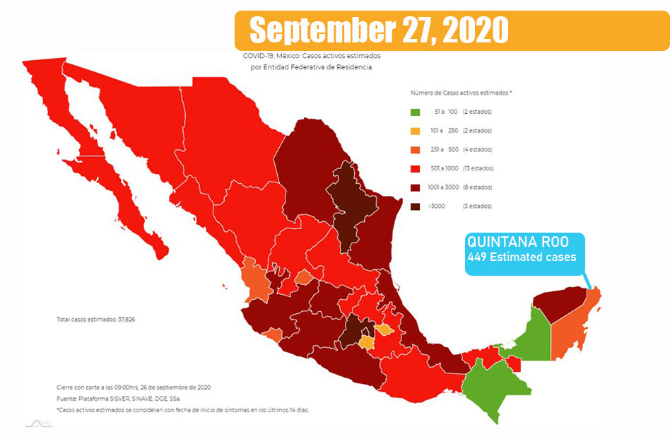 Map of Mexico showing the estimated active cases per state as of September 3rd, 2020