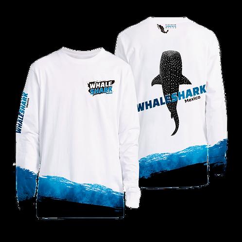 Sun Protection UPF 50+ UV Outdoor Long Sleeve Dri-fit T-Shirt Whale Shark Wave