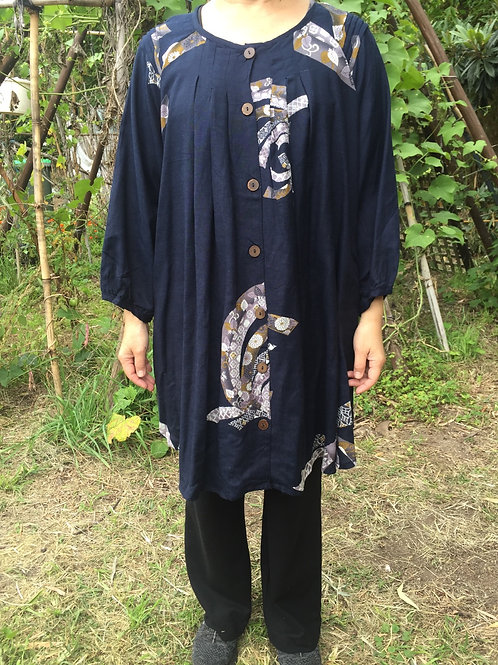 Medium Tunic Jacket style indigo ribbon