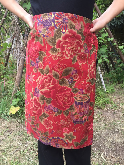 Wrap around skirt  medium length redbrown 64cm