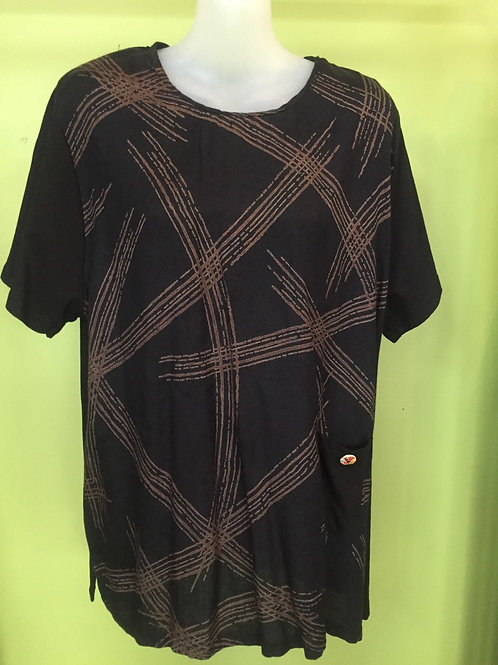 T shirt short black with lines