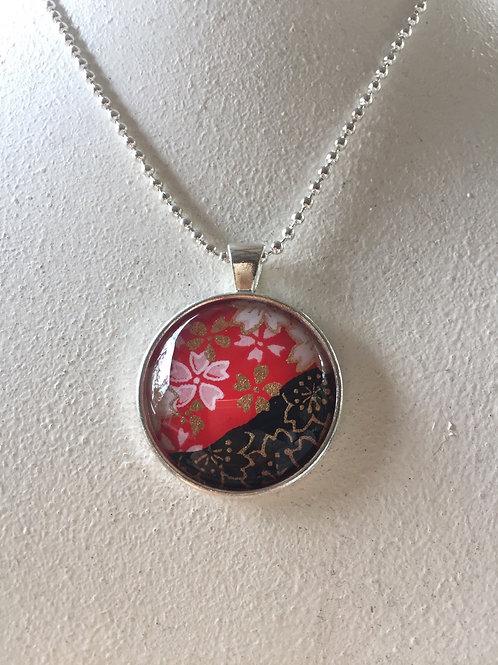 Glass Pendant ( cherry blossom 25mm) Silver coloristic