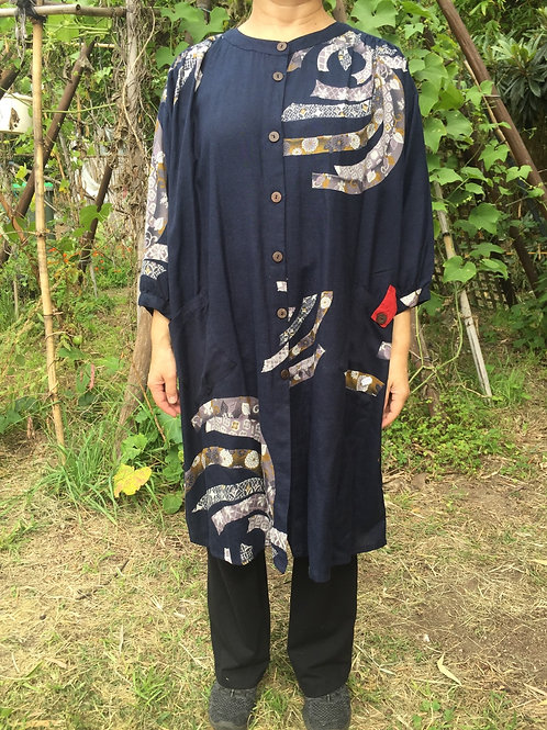 Long Tunic Jacket style indigo ribbon